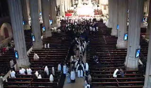 "Improvisation on ""Tu es Petrus"" at the end of the Papal Mass in St. Patrick's Cathedral with Pope Benedict XVI, April 2008 -video courtesy of Ron Brook-"