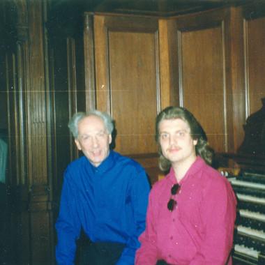 With Jean Guillou at St. Eustache, Paris, June 1992