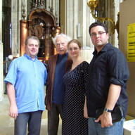 In Paris with Jean Guillou, Lena and Jackson before lunch together, June 2010