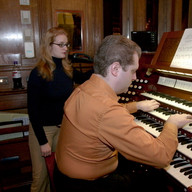Stephen and Lena during the recording session, January 2006, Brick Church