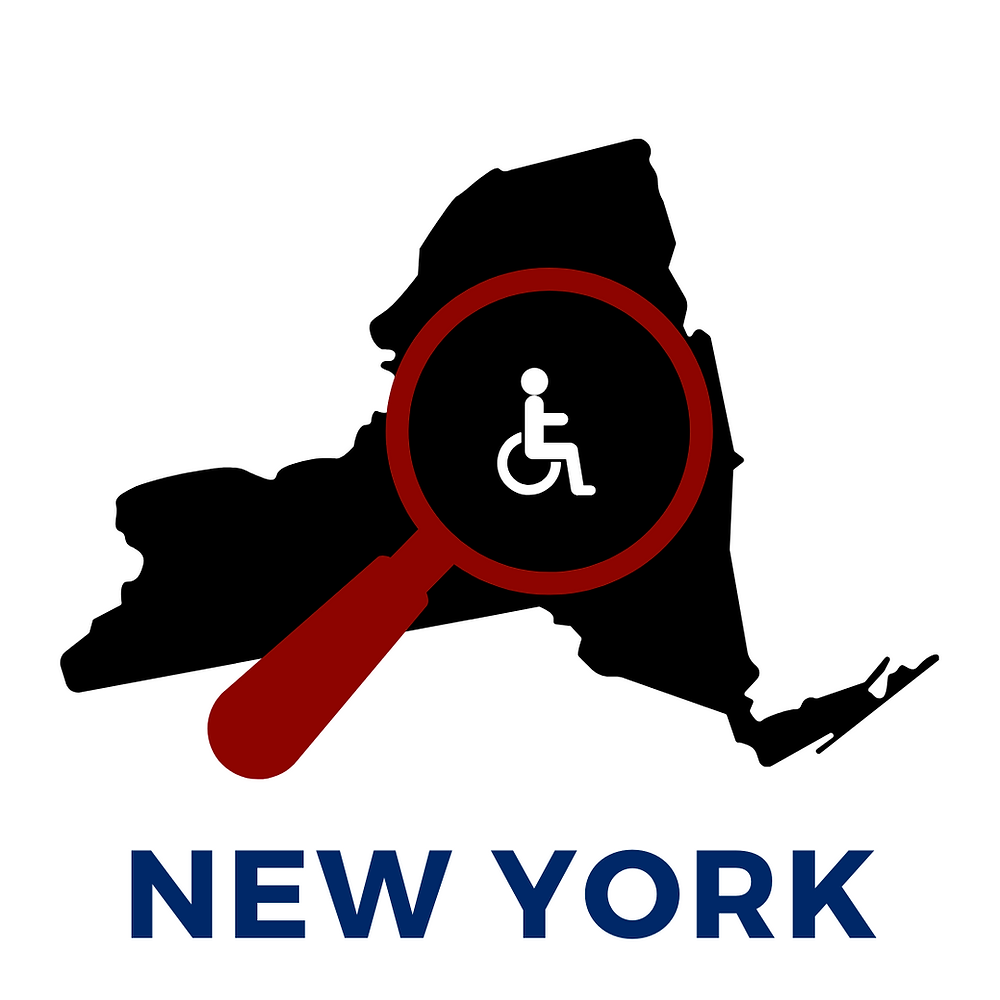 Stop EVV New York coalition logo with black outline of New York with a red magnifying glass on top and a white international disability symbol in the center