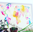watercolor map painting