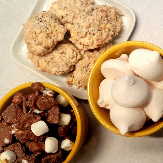 White Chocolate Pecan Macaroons, Meringues, S'mores Clusters