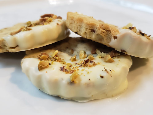Mother's Day White Chocolate Dipped Pistachio Shortbread