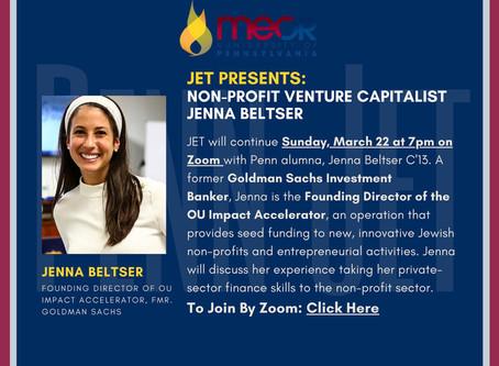 JET @ 7pm Sunday: Non-Profit Venture Capitalist Jenna Beltser