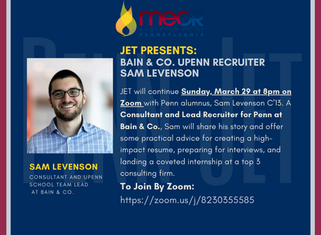 REWIND: Insider Tips for Consulting Interviews w/Lead Recruiter, Bain & Co Sam Levenson - JET