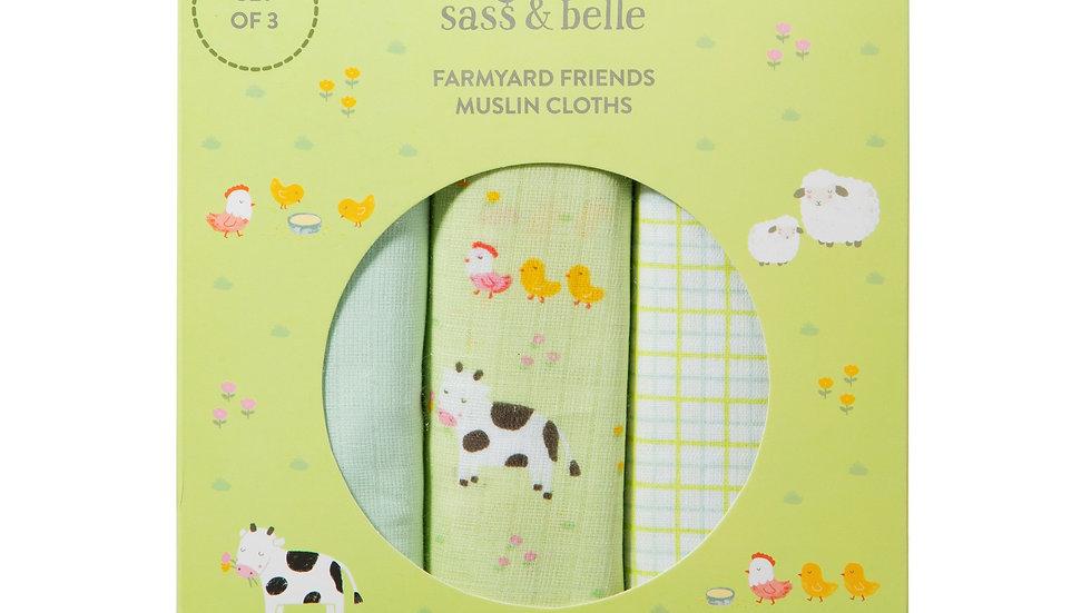 Farmyard Muslin Cloth set of 3
