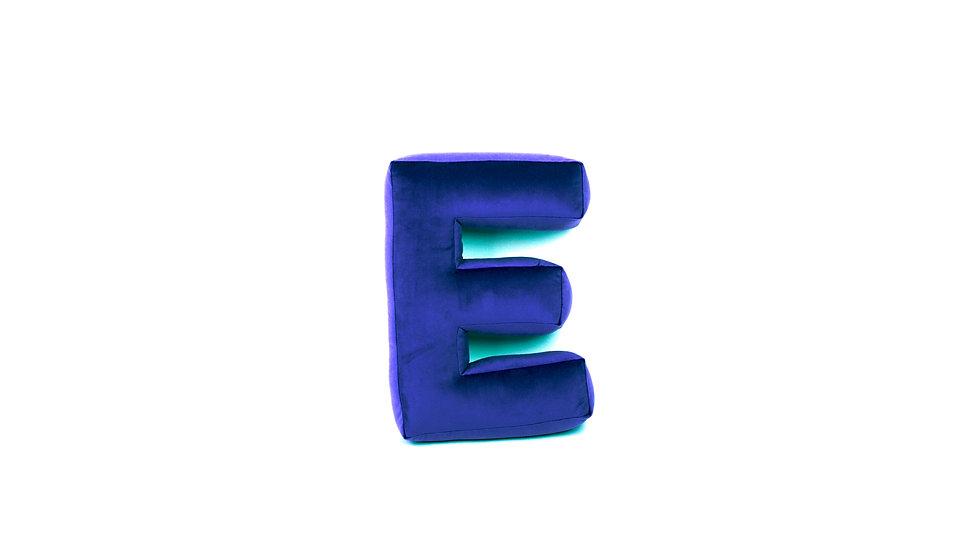 """""""E"""" Velvet Letter Cushion"""