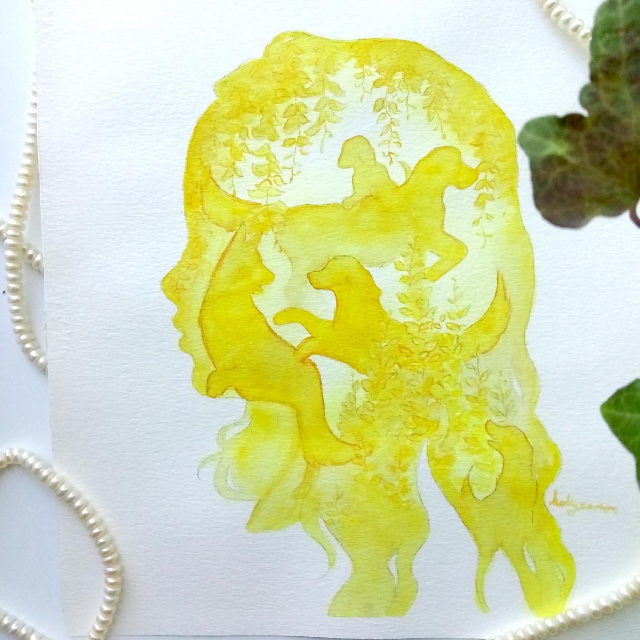yellow silhouette