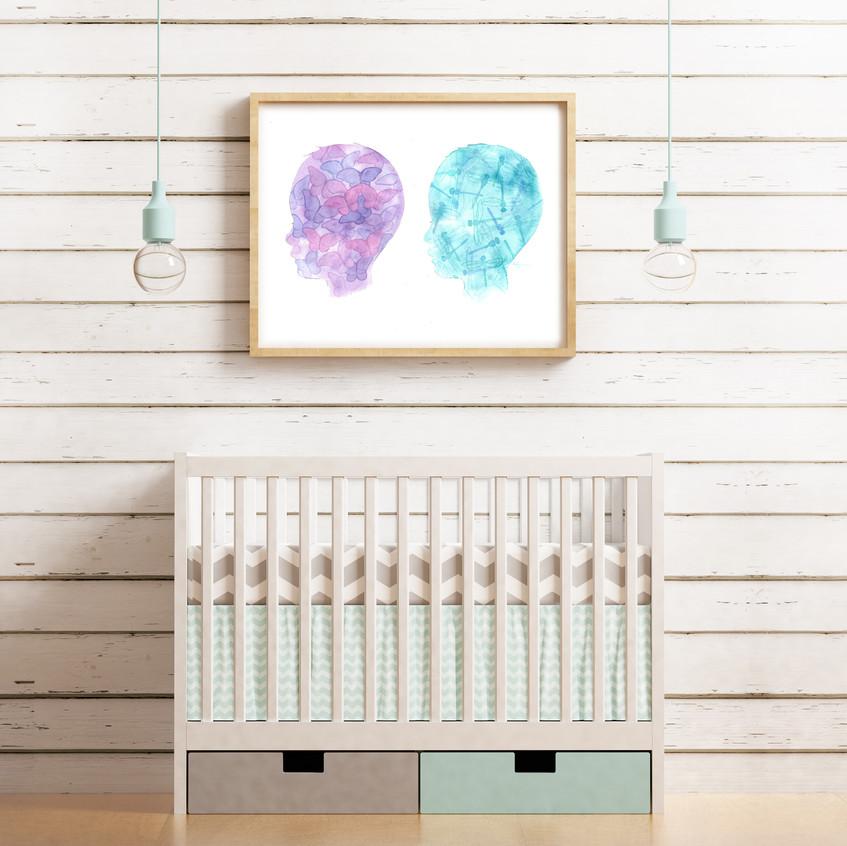 twin nursery decor