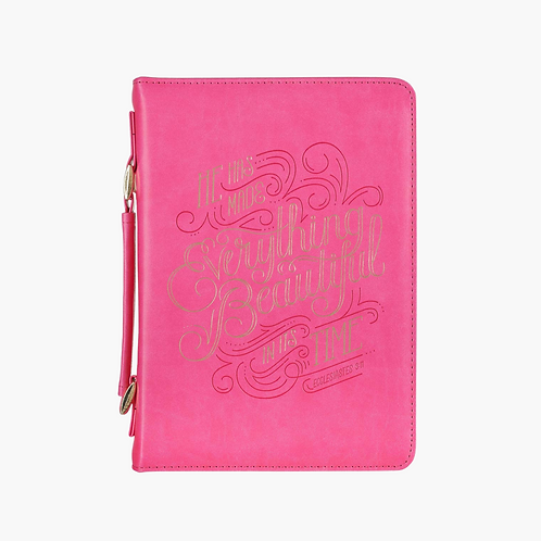 He Has Made Everything Beautiful Pink Faux Leather Fashion Bible Coveri