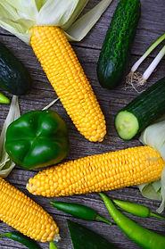 three-yellow-corn-cobs-bell-pepper-cucum
