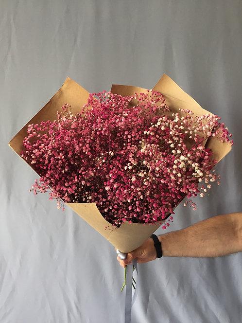 ВАУ букет с розовой гипсофилой