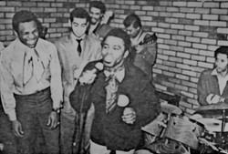James Brown with mic 1968, Lonnie Youngblood laughling, Jimmie Mayes on Drums