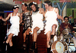 From left, Dave Brigatii, Jimmi Mayes, Jimi Hendrix (Maurice James), Tommy Davis, Joey Dee on Drums
