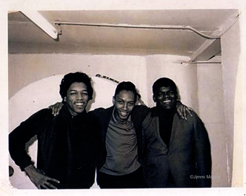 Jimi Hendrix, left, Jimmi Mayes, middle, Calvin Dukr, 1965 Buffulo, NY