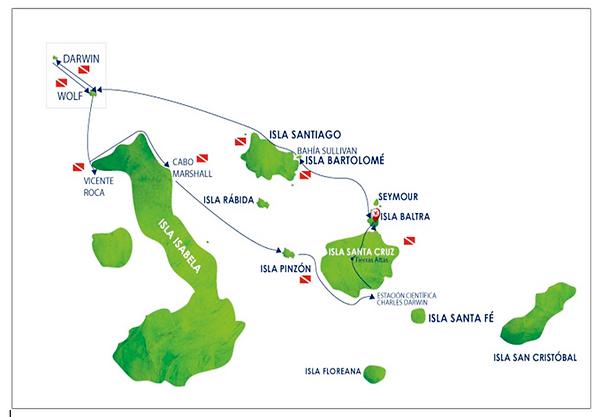 Mapa para bucear en Galápagos