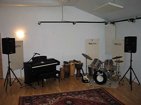 Rock band setup at Enchanted Garden Studio Two
