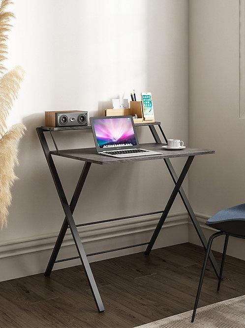 Core Folding Two-Tier Desk Gray Oak