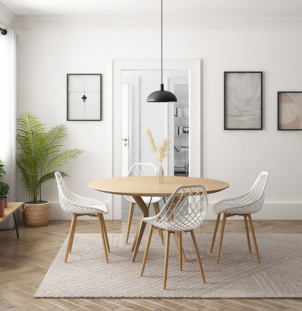 Dining Chair Set. Jamesdar Dining chair set. White dining chair. Jamesdar Kurv Collection