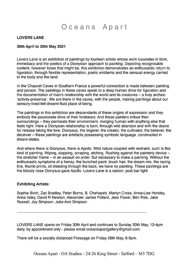 Lovers Lane Press Release, Map and Workl
