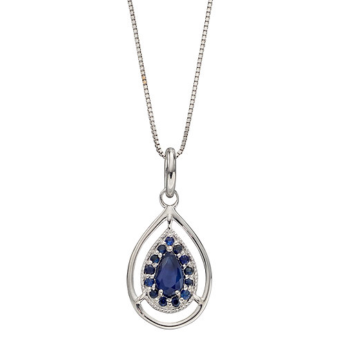 Cut Out Teardrop Necklace with Sapphire in 9ct White Gold