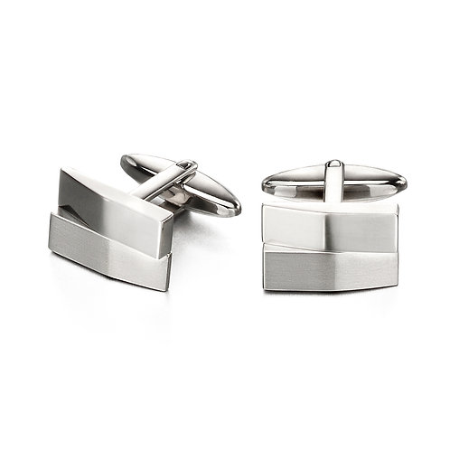Brushed And Shiny Rectangle Cufflinks