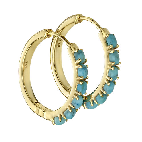 Gold Plated Hoop Earrings With Blue Magnesite