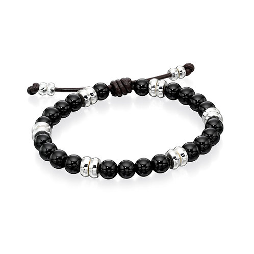 Sterling Silver and Black Onyx Beaded Bracelet
