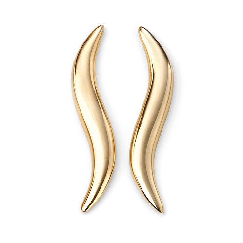 9ct Yellow Gold Curved Climber Earrings