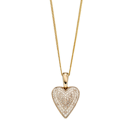 Pave Diamond Heart Necklace in 9ct Yellow Gold