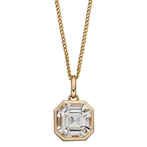 Asscher Cut White Topaz Necklace in 9ct Yellow Gold