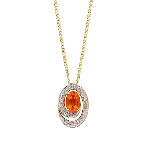 9ct Gold Fire Opal and Diamond Necklace