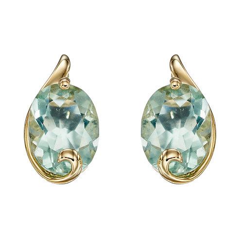 Green Fluorite Swirl Earrings in 9ct Yellow Gold