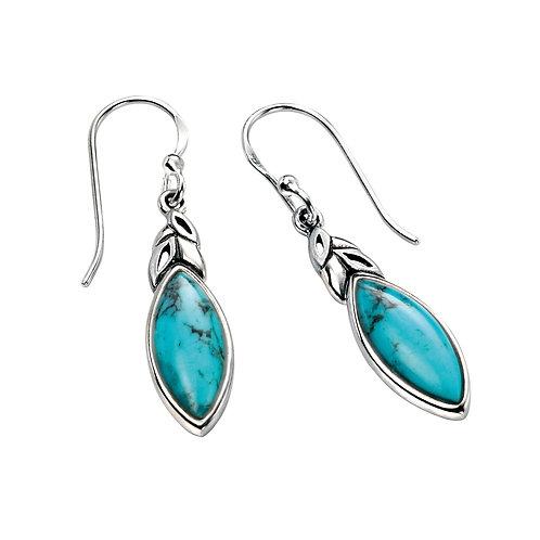 Turquoise Leaf Shape Sterling Silver Earrings