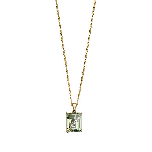 9ct Yellow Gold Green Amethyst And Diamonds