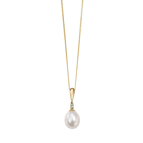 9ct Yellow Gold Freshwater Pearl and Diamond Drop Pendant