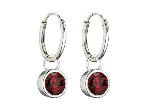Sterling Silver Crystal by Swarovski® Birthstone Charm Hoop Earrings