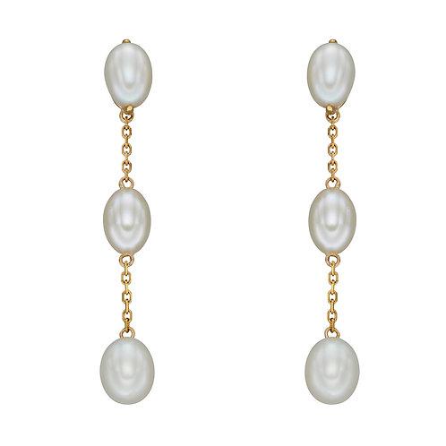 Fresh Water Pearl Tier Drop Earrings in 9ct Yellow Gold