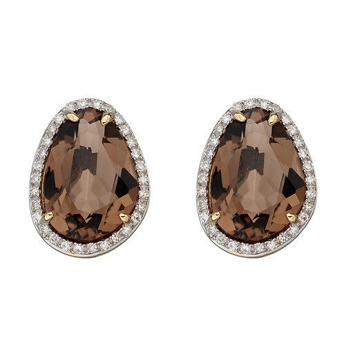 Irregular Shaped Semi Precious Stone Earrings with Diamonds in 9ct Gold
