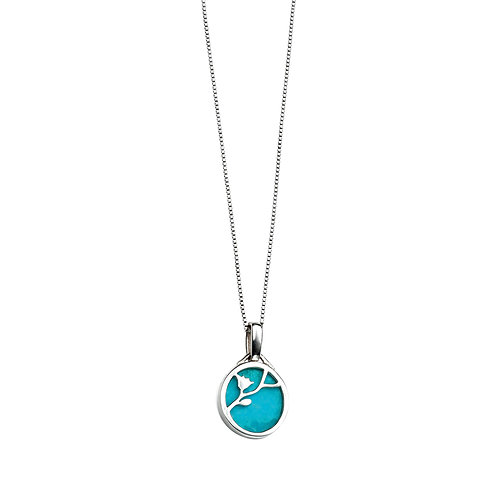 Turquoise Disc Flower Pattern Necklace