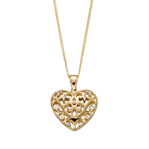 9ct Gold Filigree Heart Necklace