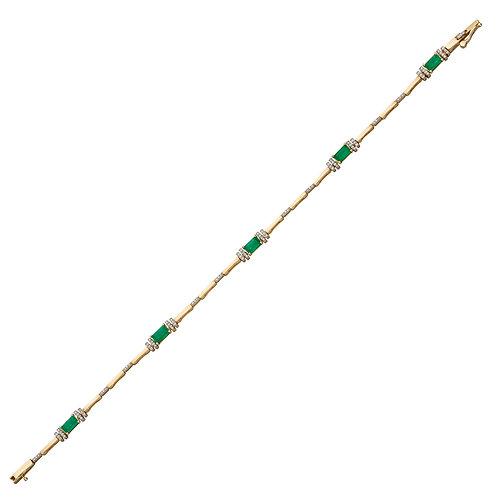 Emerald Baguette Tennis Bracelet in 9ct Yellow Gold