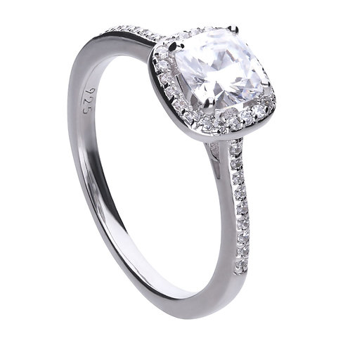 Square Solitaire and Pave Set Ring with Diamonfire Zirconia