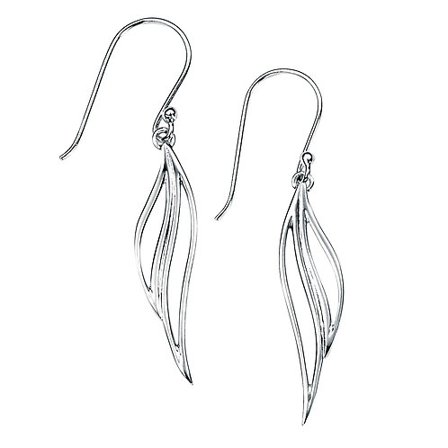 Open Leaf Drop Sterling Silver Earrings