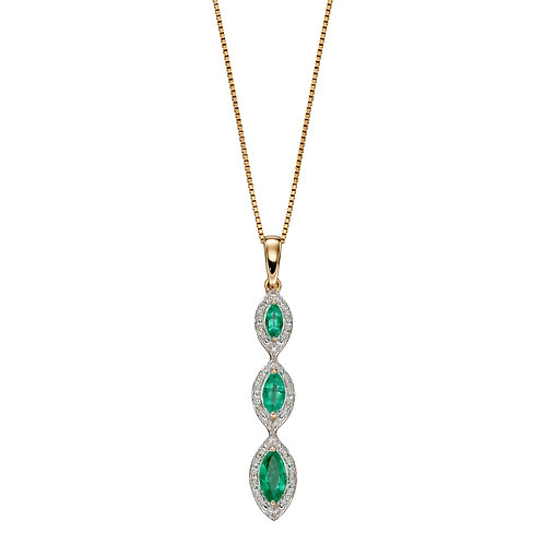 Precious Stone Drop Necklace with Diamonds in 9ct Yellow Gold