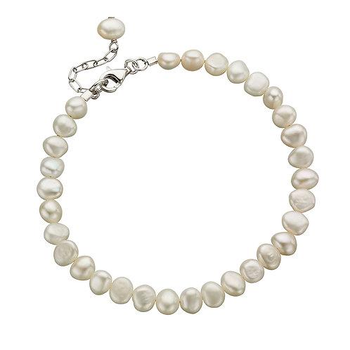 White Freshwater Pearl Single Row Bracelet