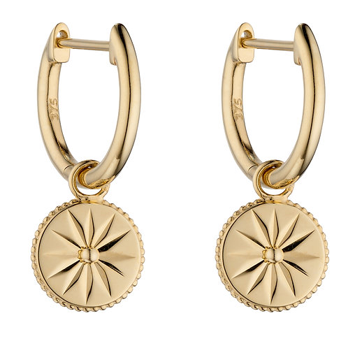 Wellness Symbol Assembled Hoop Earrings in 9ct Yellow Gold