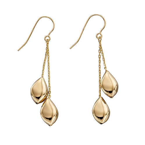 9ct Gold Multi Pebble Drop Earrings