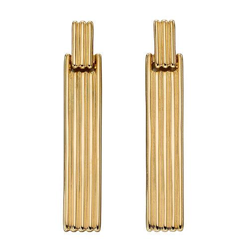 Long Bar Column Earrings in 9ct Yellow Gold
